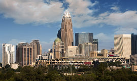 Charlotte North Carolina Skyline. Skyline of Uptown Charlotte North Carolina featuring the Bank of America building and the Panthers stadium on a sunny day with Stock Photos