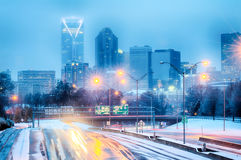 Charlotte north carolina after snowstorm and ice rain Royalty Free Stock Photography
