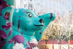 Charlotte North Carolina Street Scene. Turquoise bear on downtown street in Charlotte, North Carolina Stock Photography