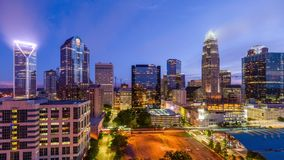 Charlotte, North Carolina, USA. Uptown cityscape at twilight stock video footage