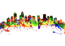 Charlotte North Carolina USA City Skyline. Watercolor art print of the Skyline of Charlotte North Carolina USA Stock Photo
