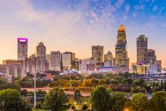 Charlotte, North Carolina, USA Skyline. Charlotte, North Carolina, USA uptown skyline at dusk royalty free stock photos