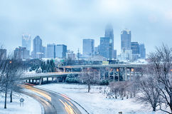 Charlotte north city after snowstorm and ice rain Stock Photo