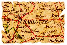 Charlotte old map Royalty Free Stock Photos