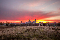 Charlotte the queen city skyline at sunrise Stock Images