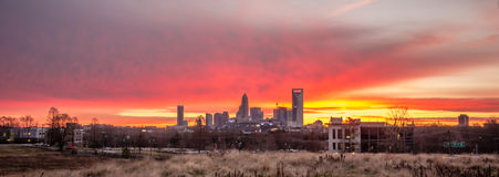 Charlotte the queen city skyline at sunrise Royalty Free Stock Photos