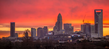 Charlotte the queen city skyline at sunrise Royalty Free Stock Photo