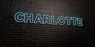 CHARLOTTE -Realistic Neon Sign on Brick Wall background - 3D rendered royalty free stock image Royalty Free Stock Photo