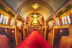 Charlotte, , September 7, 2014 - interior of  Holy Trinity Gre Royalty Free Stock Images