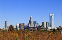 Charlotte Skyline with Bank of America Stadium Stock Photos