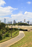 Charlotte Skyline de parc de Midtown Photo stock