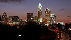 Charlotte, skyline do NC Fotos de Stock