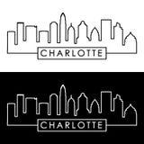 Charlotte Skyline estilo linear ilustração do vetor