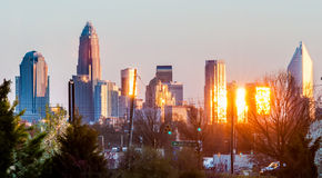 Charlotte skyline in the evening before sunset Stock Photos