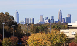 Charlotte Skyline in the Fall Stock Photos