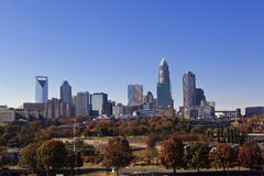Charlotte Skyline in the Fall Stock Images