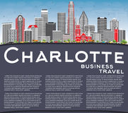 Charlotte Skyline with Gray Buildings, Blue Sky and Copy Space. Royalty Free Stock Photo