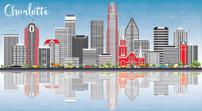 Charlotte Skyline with Gray Buildings, Blue Sky and Reflections. Royalty Free Stock Images