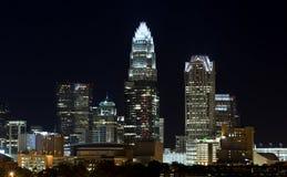 Charlotte Skyline la nuit Photo libre de droits