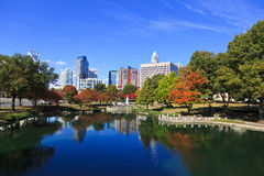 Charlotte Skyline at Marshall Park Stock Photos
