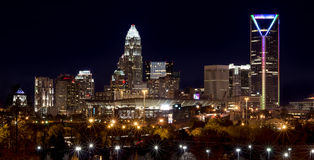 Charlotte Skyline at Night. Night scene of the City of Charlotte, North Carolina with the lighted downtown cityscape showing the skyline of the uptown center Royalty Free Stock Photography