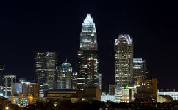 Charlotte Skyline at Night. Night scene of the City of Charlotte, North Carolina with the lighted downtown cityscape showing the skyline of the uptown center Royalty Free Stock Photo