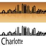 Charlotte skyline in orange Royalty Free Stock Photos