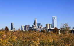 Charlotte Skyline and Panthers Stadium Royalty Free Stock Photos