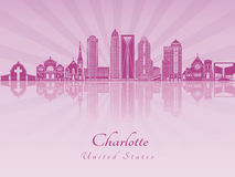 Charlotte skyline in purple radiant orchid Stock Photography