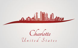 Charlotte skyline in red Stock Photos