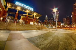 Charlotte skyline at romare bearden park and bbt knights basebal Royalty Free Stock Photo