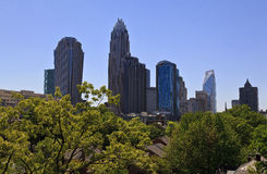 Charlotte Skyline. From the rooftop of The Poplar Condos, Bank of America Tower, Hearst Tower, Duke Energy Royalty Free Stock Photos