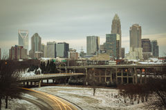 Charlotte Skyline with Snow Royalty Free Stock Photos