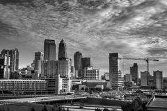 Charlotte Skyline on a Sunny Morning. Early morning as commuters arrive into the downtown amidst building completed and others still under construction Stock Image
