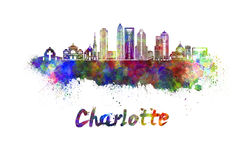 Charlotte skyline in watercolor Royalty Free Stock Photography
