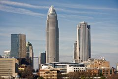 Charlotte Towers and Bobcats Arena Royalty Free Stock Photography