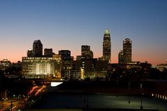 Charlotte at Twilight. Charlotte, NC Skyline at Twilight Stock Photo