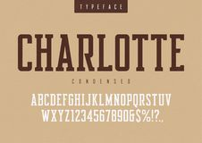 Charlotte vector condensed retro typeface, uppercase letters and. Numbers, alphabet, font, typography. Global swatches Stock Images