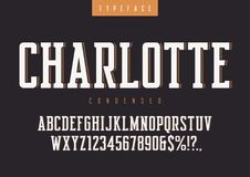 Charlotte vector condensed retro typeface, uppercase letters and. Numbers, alphabet, font, typography. Global swatches Stock Image