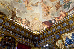 Charlottenburg ceiling. Charlottenburg castle ceiling, painted and scluptured Stock Photos
