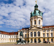 Charlottenburg palace. And a horseman statue in Berlin, Germany Stock Photos