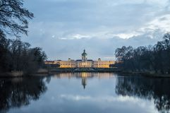 Charlottenburg palace on the lake side stock photo