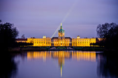 Charlottenburg palace in the night, Berlin, Germany stock photography