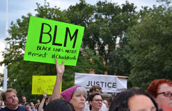 Charlottesville protest in Ann Arbor - BLM sign Stock Photography