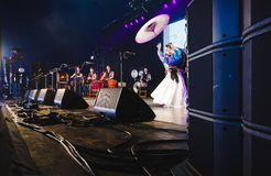 Taiko drumming and dancing at Womad stock images