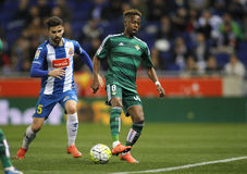 Charly Musonda Junior of Real Betis. During a Spanish League match against RCD Espanyol at the Power8 stadium on March 3, 2016 in Barcelona, Spain Stock Photography
