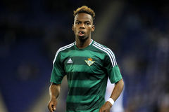Charly Musonda Junior of Real Betis. During a Spanish League match against RCD Espanyol at the Power8 stadium on March 3, 2016 in Barcelona, Spain royalty free stock photos