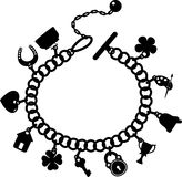 Charm bracelet. Silhouette on a white background, EPS 10 Royalty Free Stock Photography