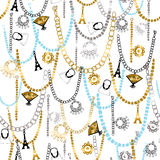 Charm Bracelets and Jewelry Seamless Patter Stock Image