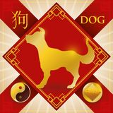 Charm with Chinese Zodiac Dog, Earth Element and Yang Symbol, Vector Illustration. Poster with red good luck charm with golden frame symbols and silhouette of Royalty Free Stock Image